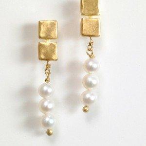 עגילי זהב ופנינה - EG026/2P6