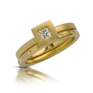 טבעת אירוסין פריחה צהובה - RDY0331